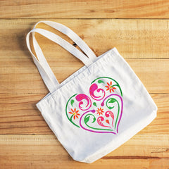 CraftStar Flourish & Flower Heart Stencil on fabric bag