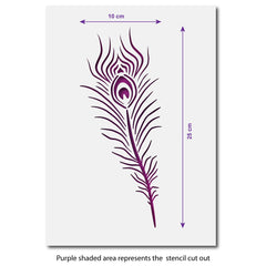 Peacock Feather Stencil - A4 Craft Template - Size Guide