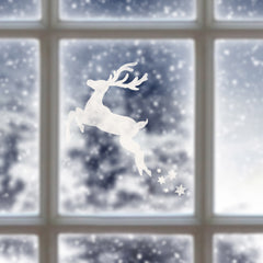 Reindeer Christmas Window Stencil - Spray Snow on Window