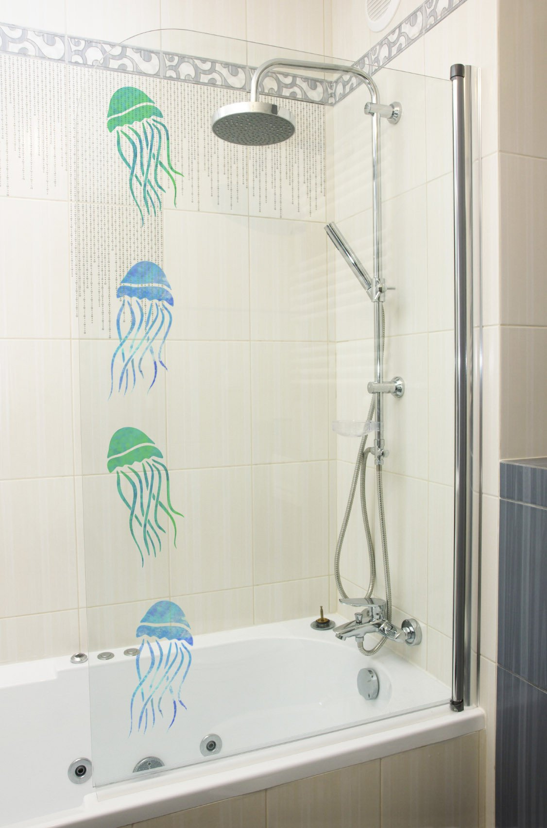 Craftstar Jellyfish Stencils on shower door