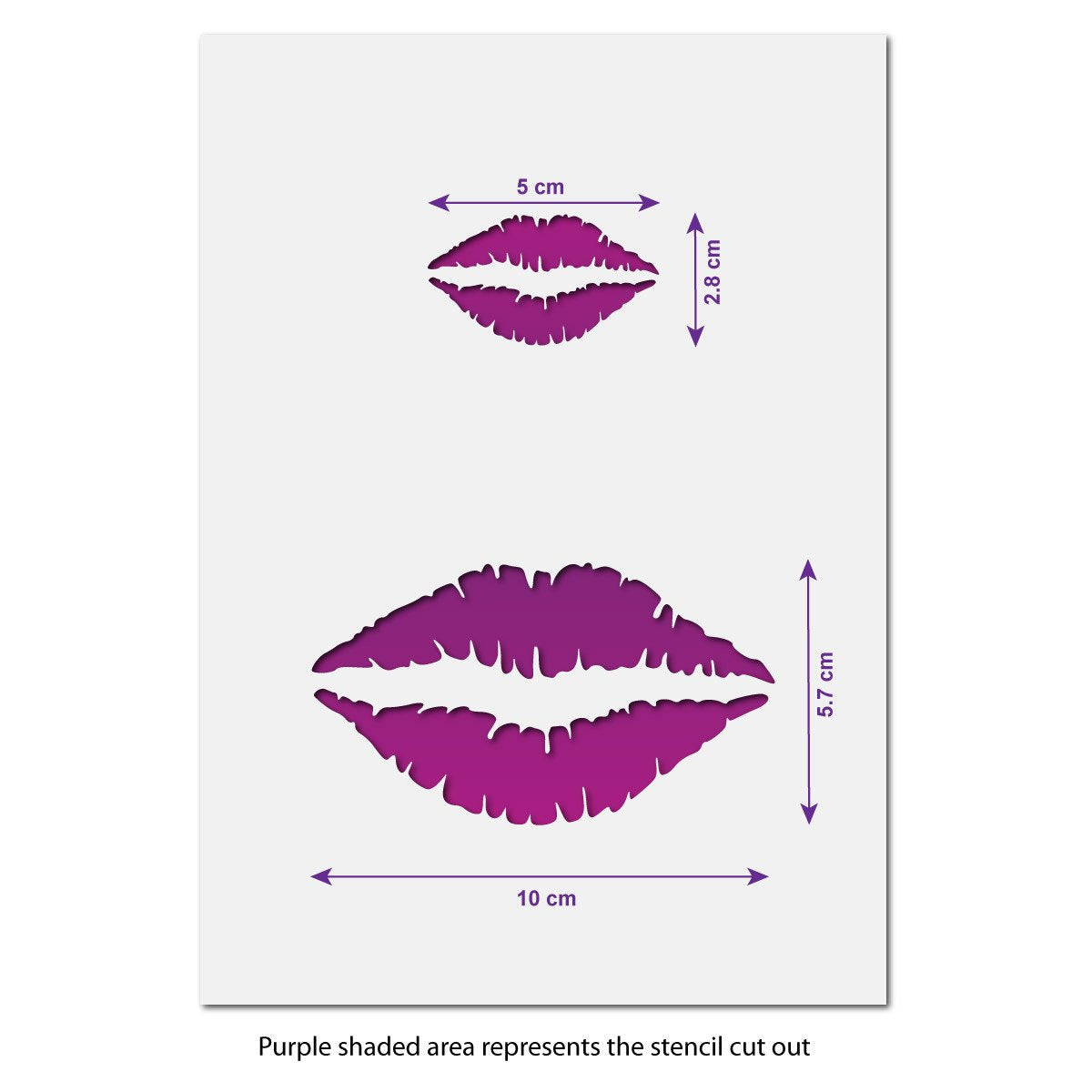 Lip Print Craft Stencil Size Guide