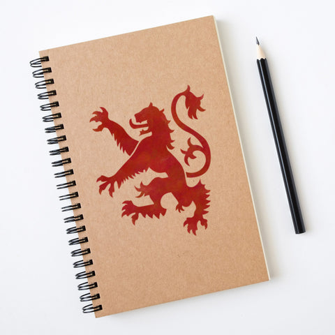 CraftStar Lion Rampant Stencil on Notebook