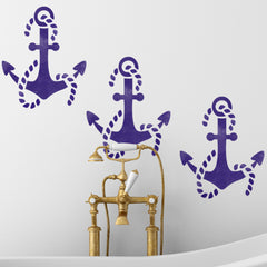 CraftStar Anchor Wall Stencil in Bathroom