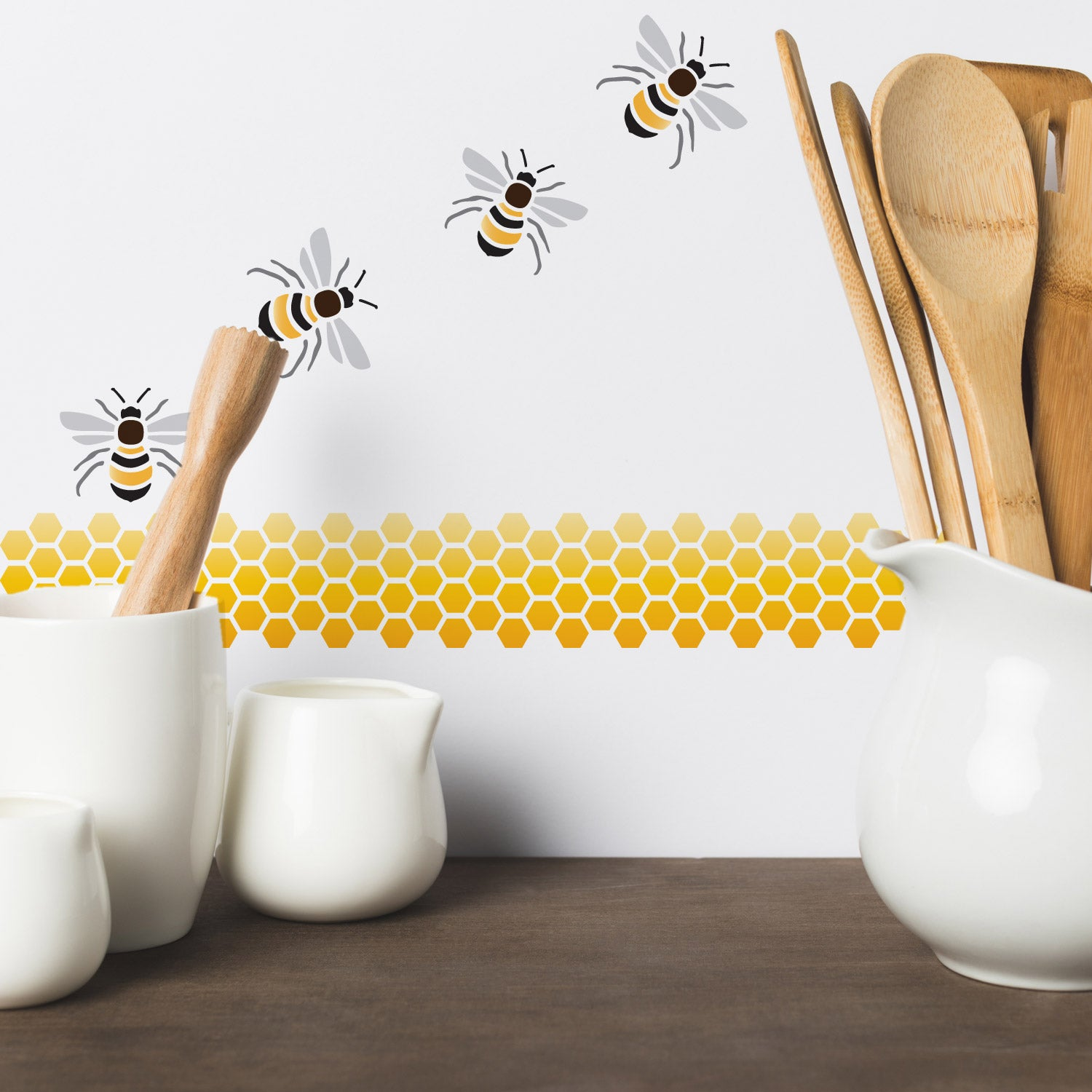 CraftStar Bee and Honeycomb Stencil Set on Wall