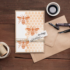 CraftStar Bee and Honeycomb Stencil Set on card