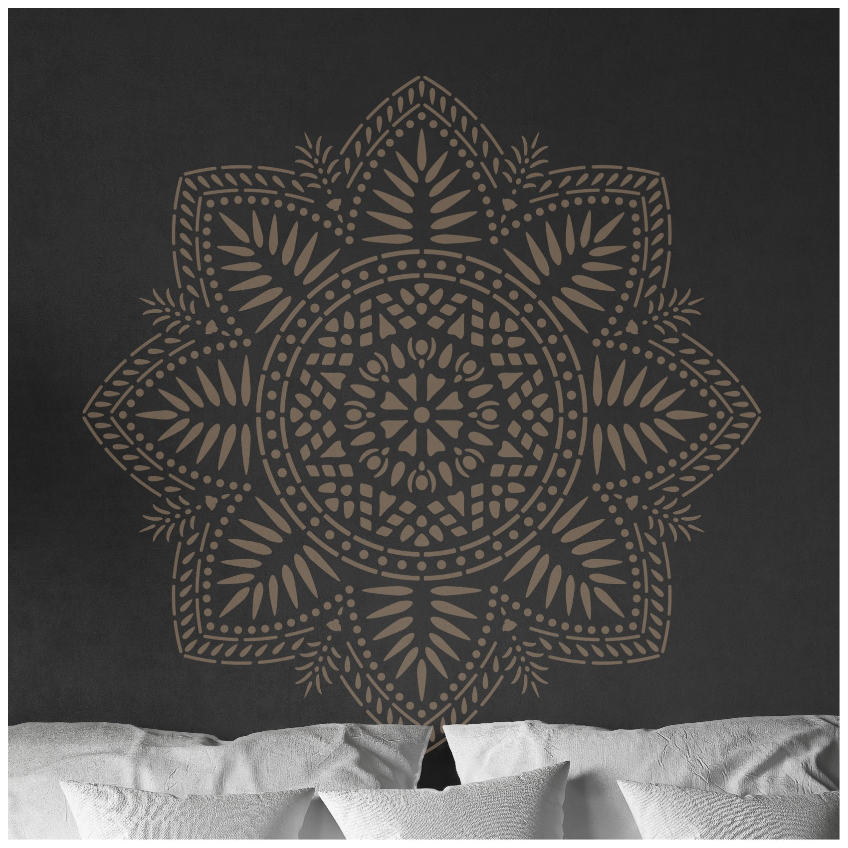 CraftStar Bliss Mandala Stencil on Bedroom Wall