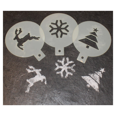 CraftStar Christmas Coffee Duster Stencils - Set of 3