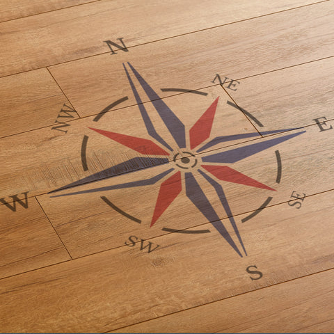 CraftStar Compass Rose Stencil on Floor