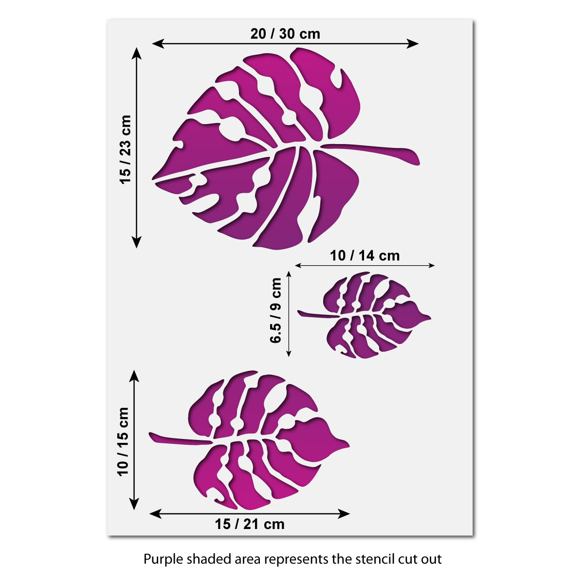 CraftStar Large Monstera Leaf Stencil Set Size Guide