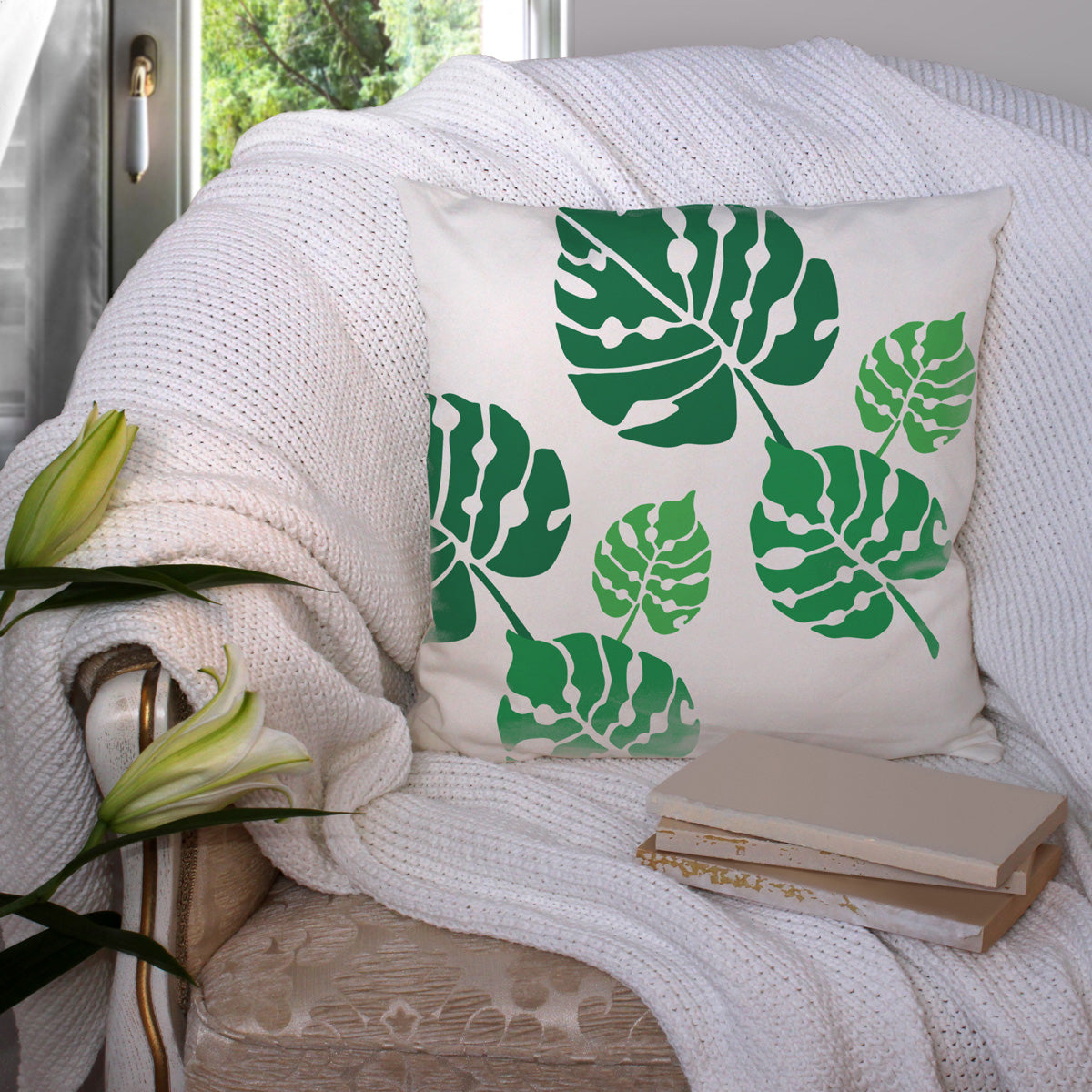 CraftStar Large Monstera Leaf Stencil Set on fabric