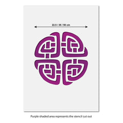 CraftStar Celtic Knot Wall Stencil - Size Guide
