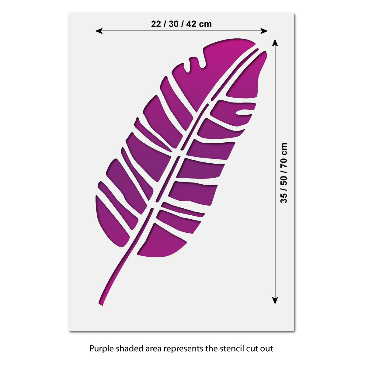 CraftStar Large Banana Leaf Stencil Size Guide