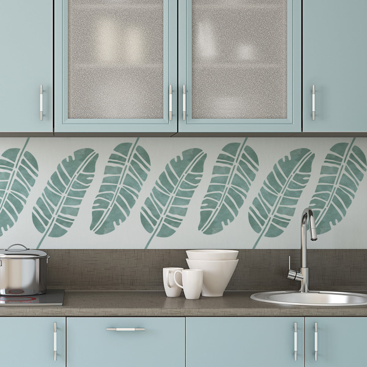 CraftStar Large Banana Leaf Stencil in kitchen