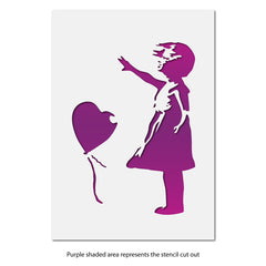CraftStar Banksy Balloon Girl Stencil - Layout