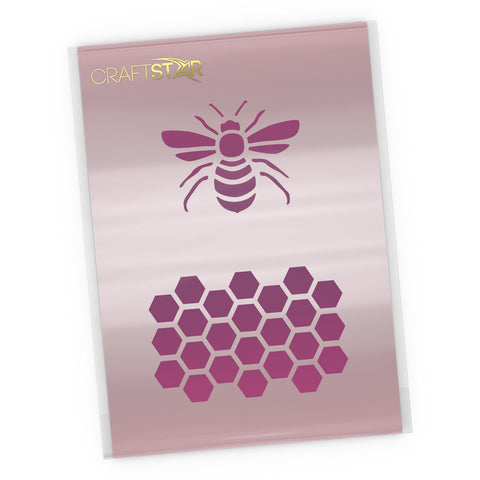 Bee and Honeycomb Stencil - Craft Bee & Honeycomb Pattern Template