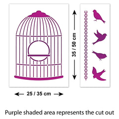 CraftStar Bird Cage Stencil - Size Guide