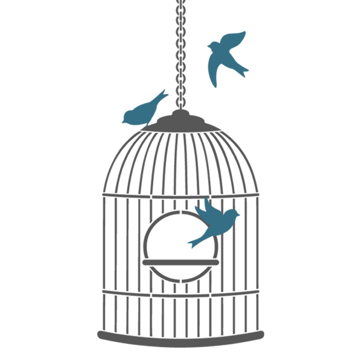 CraftStar Bird Cage Stencil - Example Layout