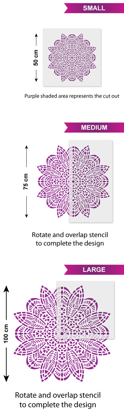 CraftStar Bloom Mandala Wall Stencil Size Guide