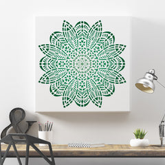 CraftStar Bloom Mandala Wall Stencil As Canvas Print