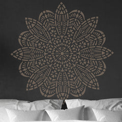 CraftStar Bloom Mandala Wall Stencil Over Bed