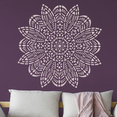 CraftStar Bloom Mandala Wall Stencil Over Sofa