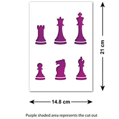 CraftStar Chess Pieces Stencil Set - Size and Layout