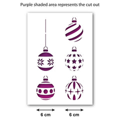 CraftStar Christmas Baubles Stencil Set - Size Guide