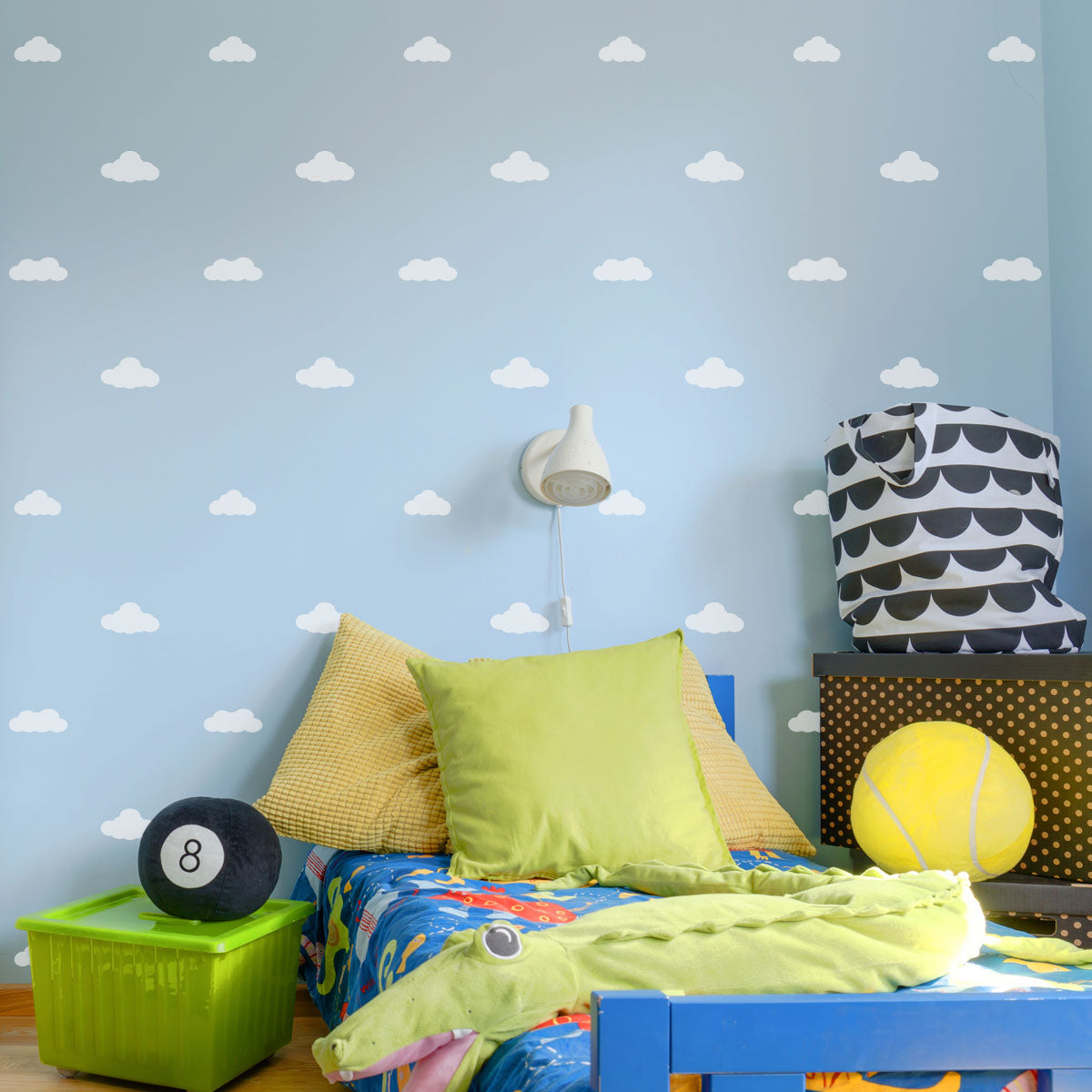 CraftStar Clouds Stencil Set in Boys Bedroom