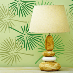 CraftStar Fan Palm Leaf Stencil on wall