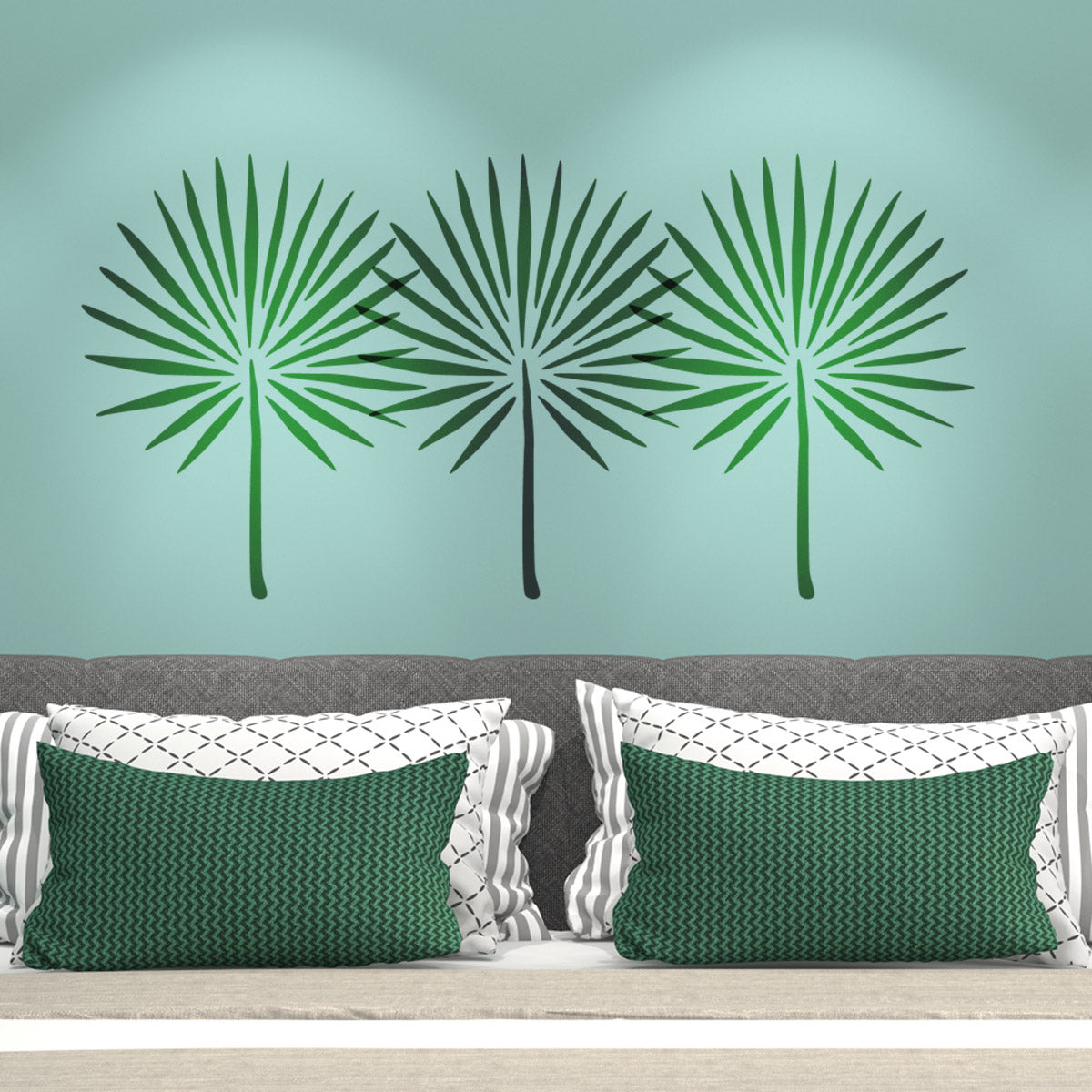 CraftStar Fan Palm Leaf Stencil on bedroom wall
