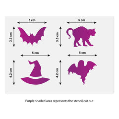 CraftStar Halloween Mini Stencil Set Size Guide