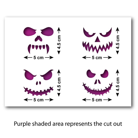 Pumpkin Faces Cookie Stencil Set - Size Guide