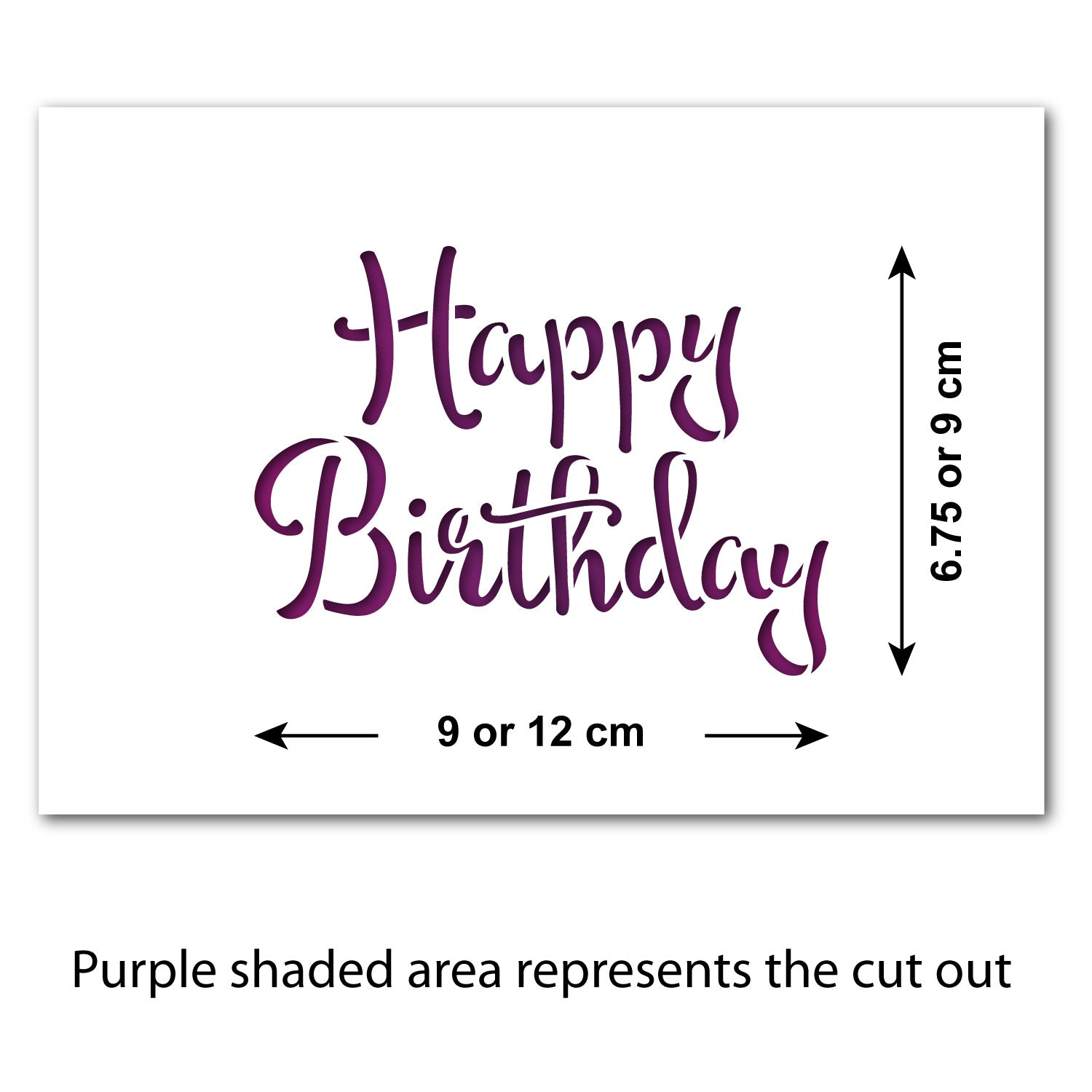 CraftStar Happy Birthday Stencil - Size Guide
