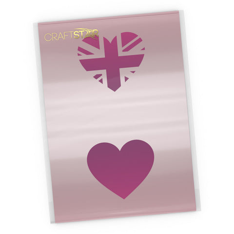 Heart Shaped Union Jack Stencil - Craft Template