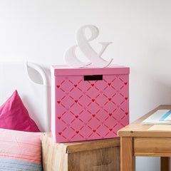 CraftStar Hearts Lattice Stencil on Storage Box