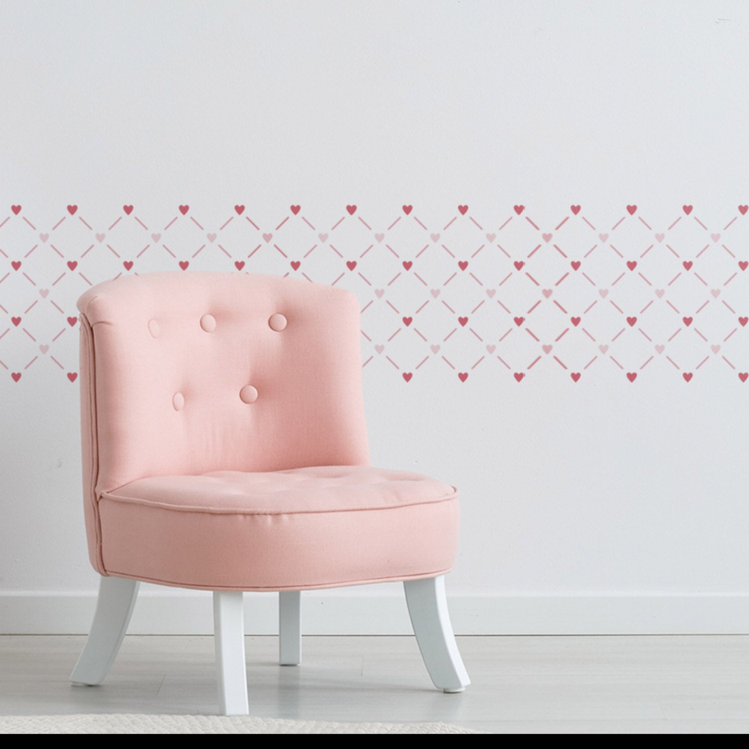 CraftStar Heart Lattice Wall Stencil as a border