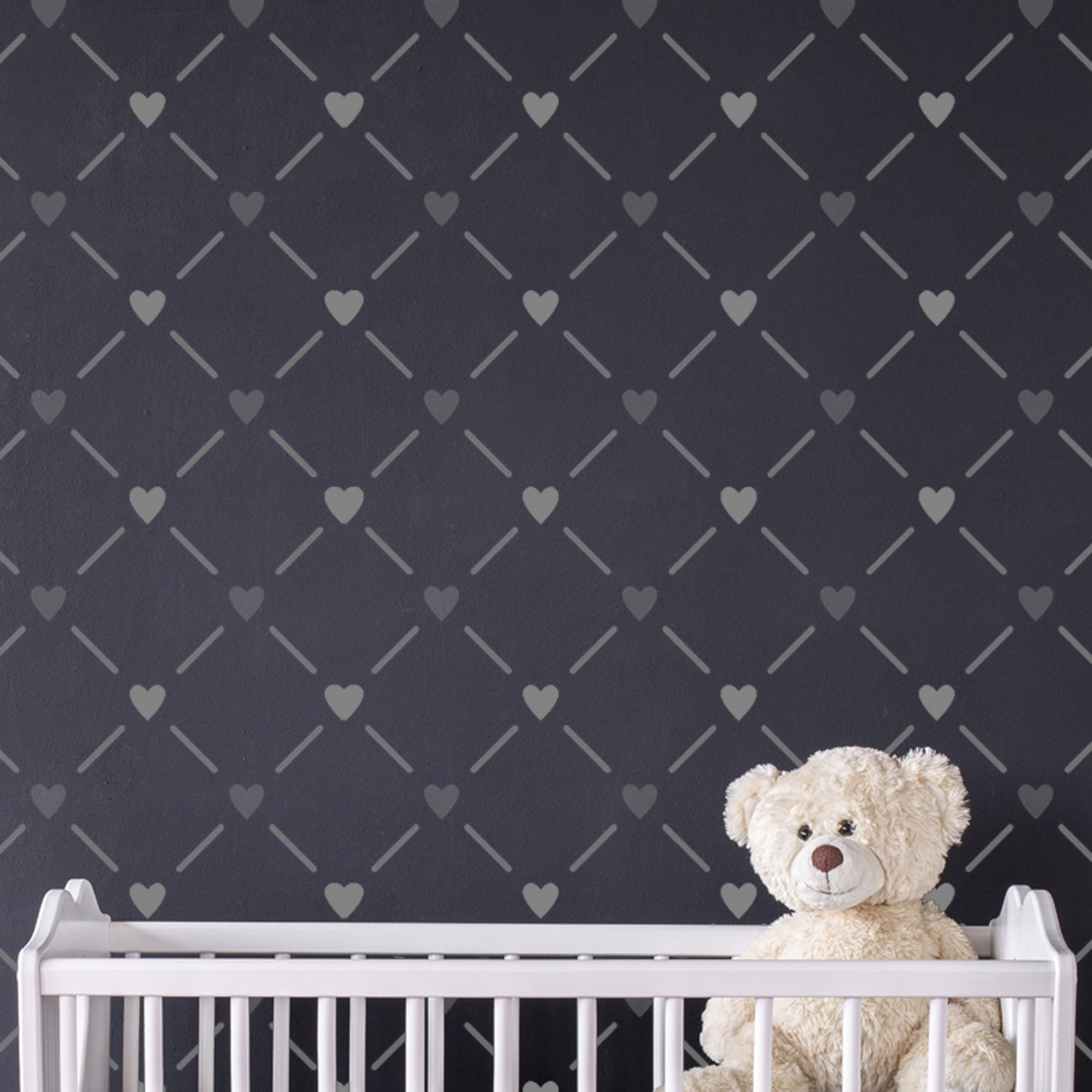 CraftStar Heart Lattice Wall Stencil on Nursery Wall