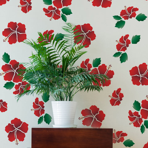 CraftStar Hibiscus Flower Stencil Set on Wall