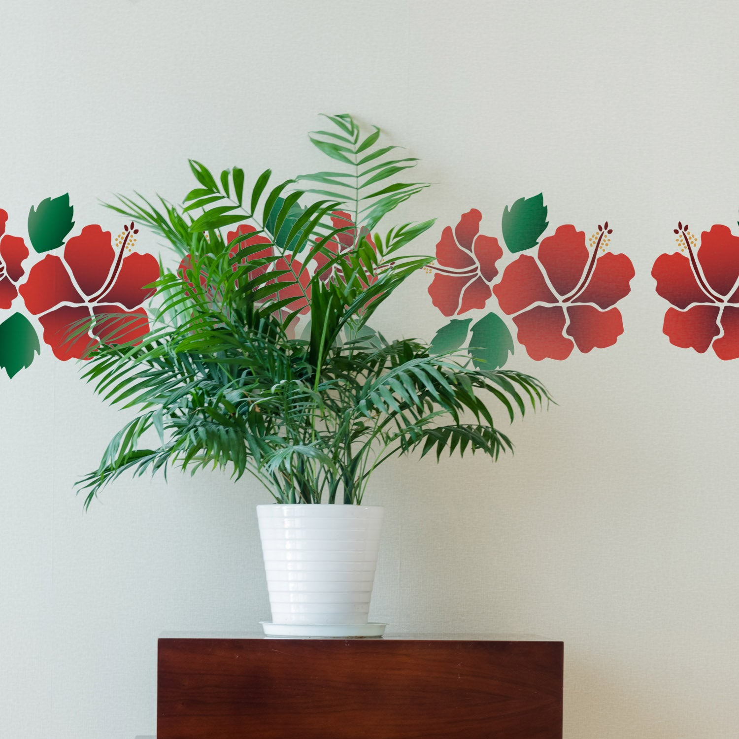 CraftStar Hibiscus Flower Stencil Set as Border