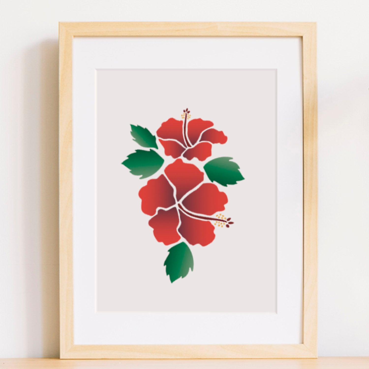 CraftStar Hibiscus Flower Stencil Set as Framed Picture