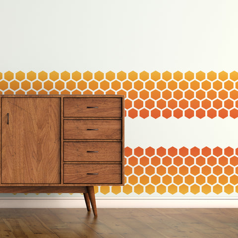 CraftStar Honeycomb Border Stencil on wall
