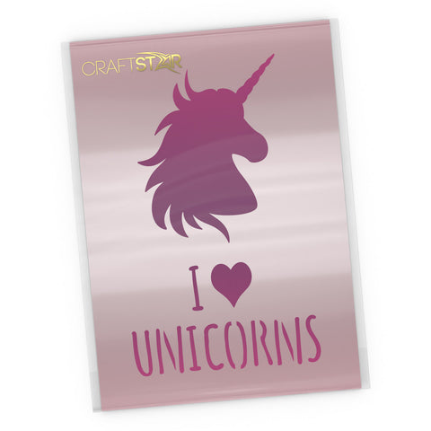I Love Unicorns Stencil- Craft Template