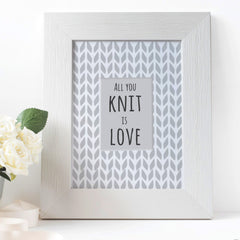 CraftStar Knitting Background Pattern Stencil as framed print