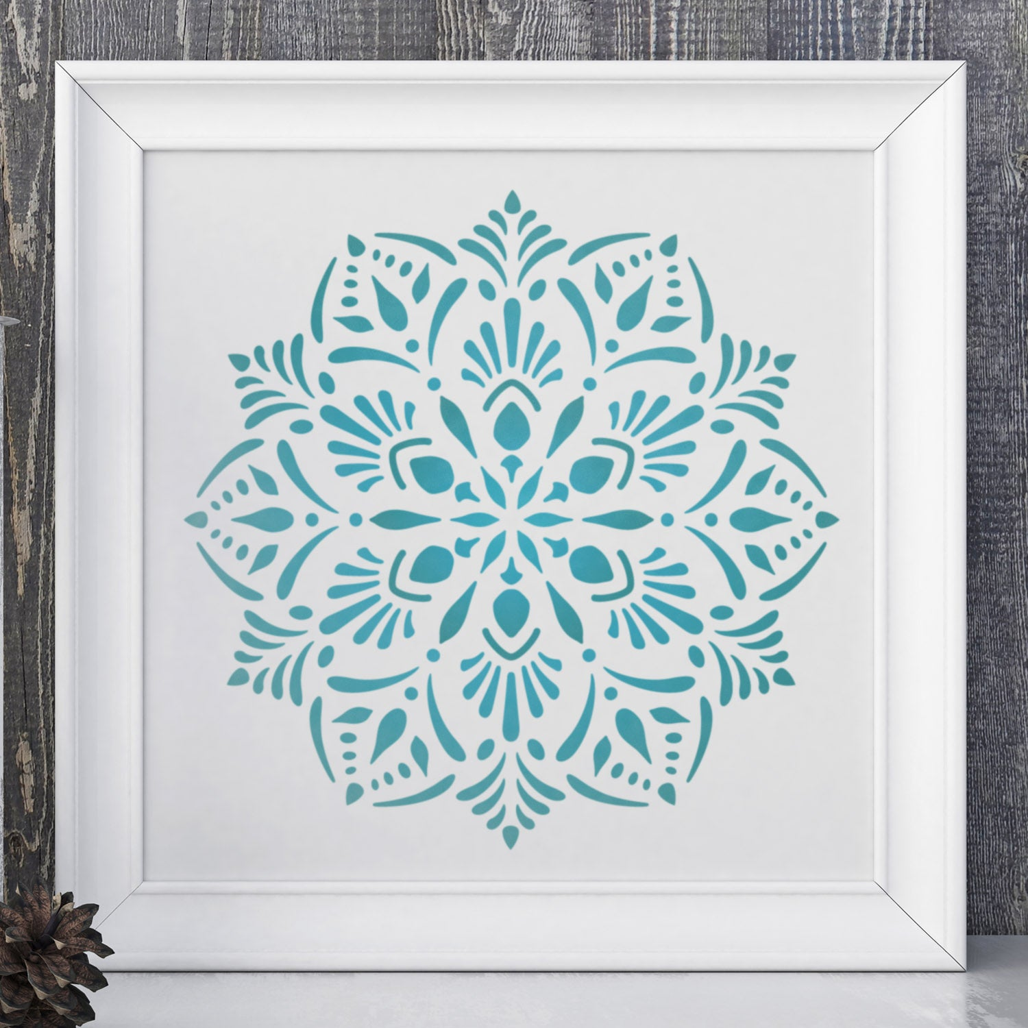 CraftStar Laghu Mandala Stencil as framed print