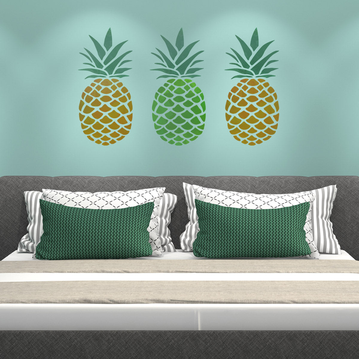 CraftStar Large Pineapple Stencil on bedroom wall