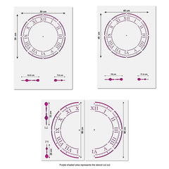 CraftStar Roman Numeral Clock Stencil Sizes