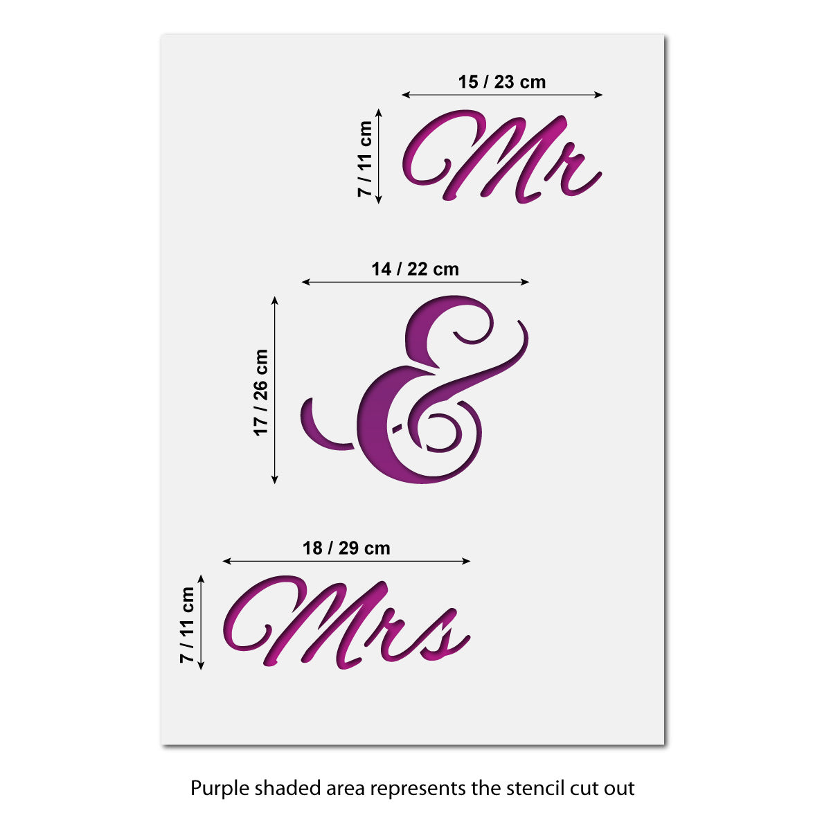 CraftStar Large Mr & Mrs Words Stencil Size Guide