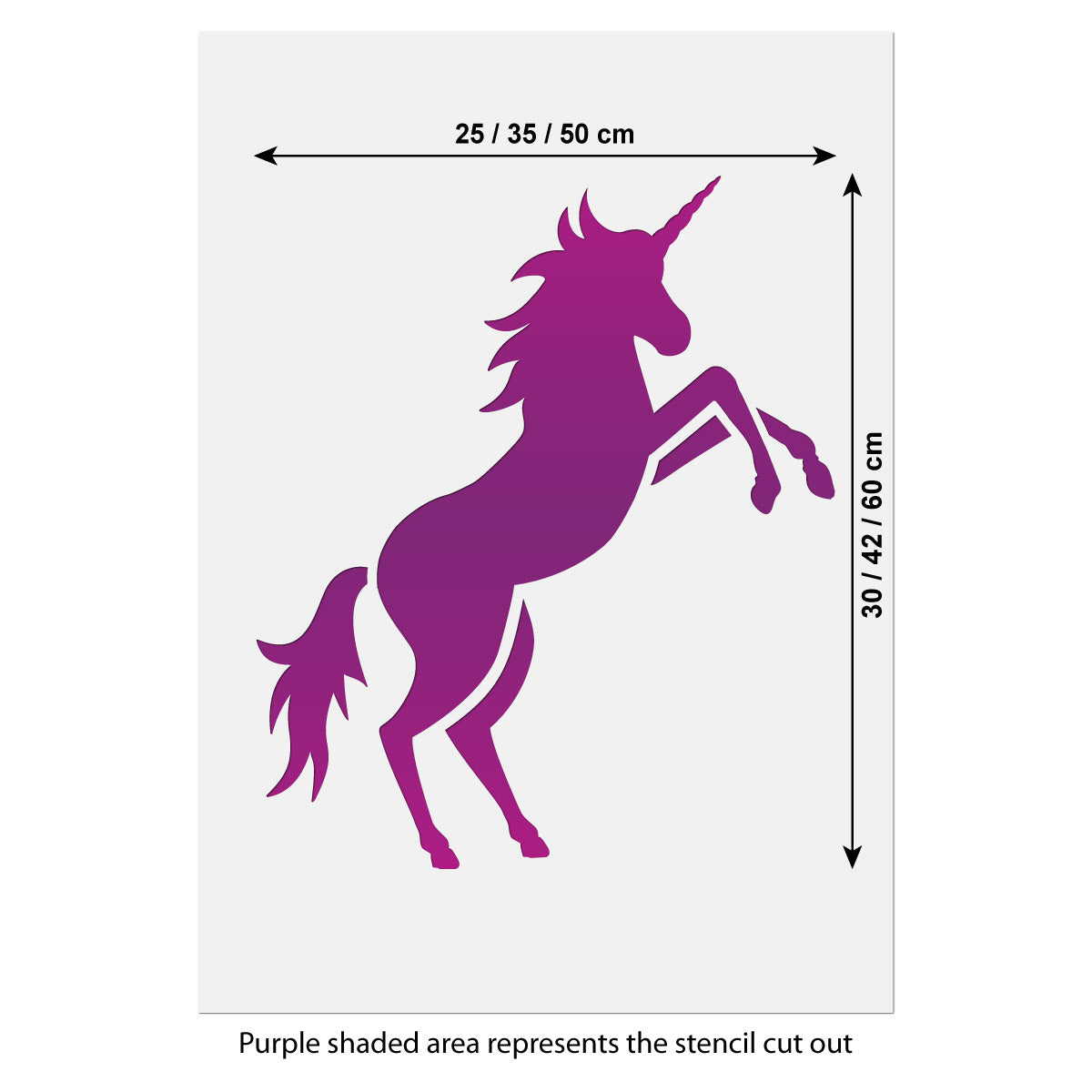 CraftStar Unicorn Stencil Size Guide