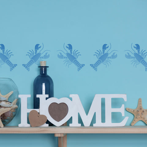 CraftStar Lobster stencil as sea themed border
