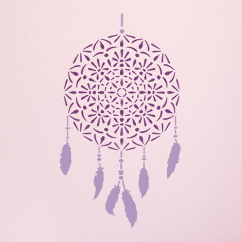CraftStar Mandala Dreamcatcher Wall Stencil in Pinks